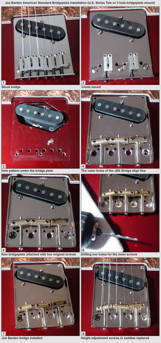 Joe Barden AMERICAN STANDARD Compensated BRIDGE /& Saddles Fender Telecaster Tele